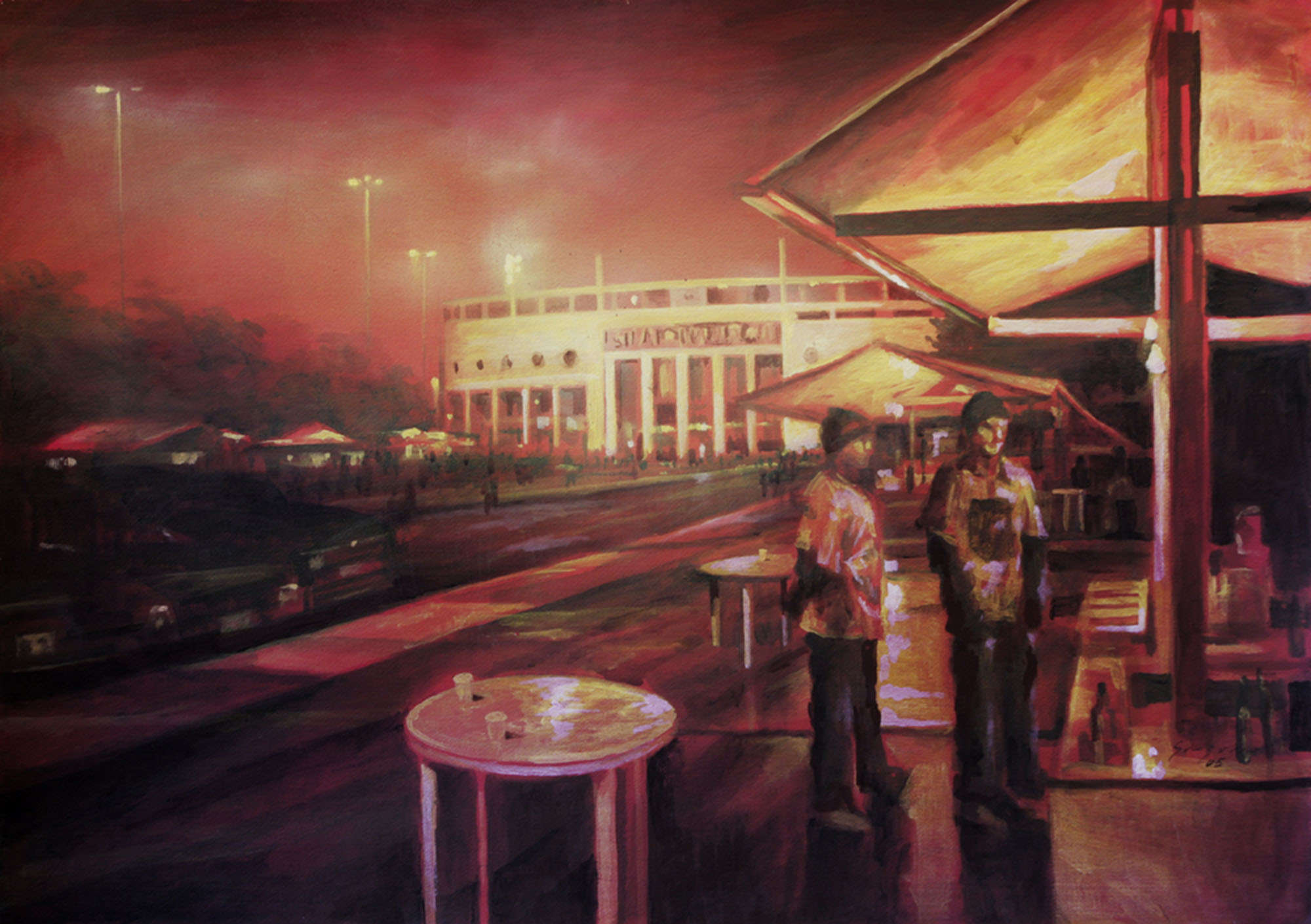 Pintura do artista Gregório Gruber do EStádio do Pacaembú.