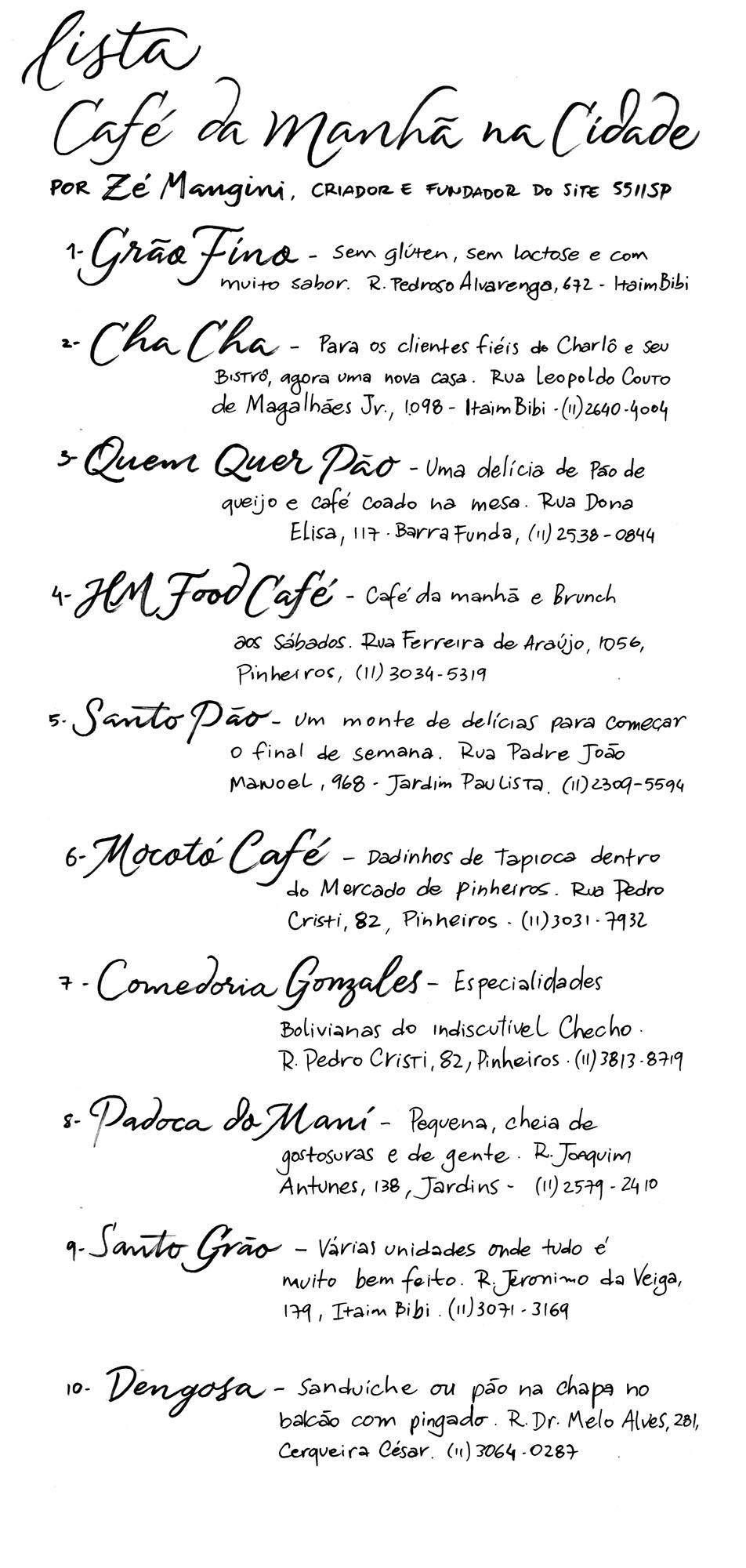 lista de melhores café da manhã em SP por Zé Mangini
